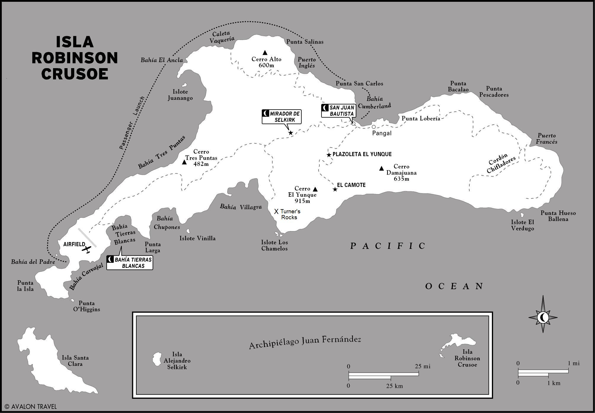 Map of Robinson Crusoe Island